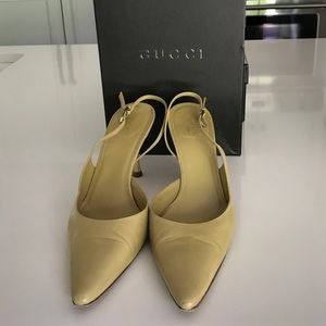Gucci sling backs in desert lime size 9